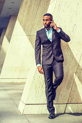 Photograph - Young Businessman Talking On Cell Phone Outside In New York 1705219 by Alexander Image