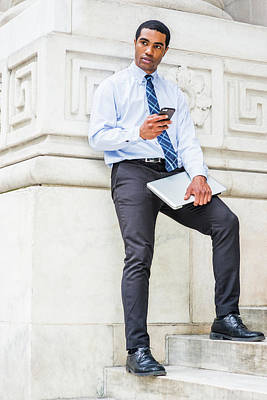 Photograph - Young Businessman Texting Outside 17051415 by Alexander Image