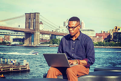Photograph - Young Businessman Traveling, Working In New York 15082340 by Alexander Image