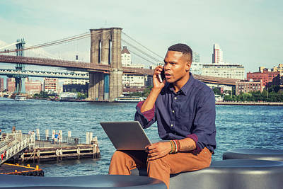 Photograph - Young Businessman Traveling, Working In New York 15082343 by Alexander Image