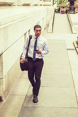 Photograph - Young Businessman Traveling, Working In New York 17051417 by Alexander Image