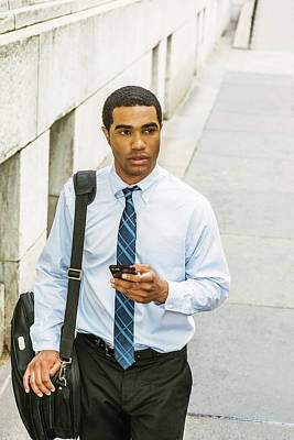 Photograph - Young Businessman Traveling, Working In New York 17051418 by Alexander Image
