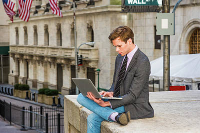 Photograph - Young Businessman Working On Laptop Computer On  Wall Street 1504124 by Alexander Image