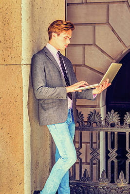 Photograph - Young Businessman Working On Laptop Computer Outside Office 1504123 by Alexander Image