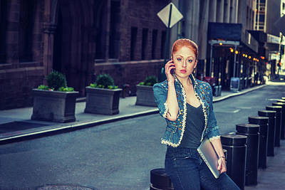 Photograph - Young Businesswoman Calling Outside by Alexander Image