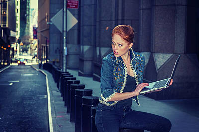 Photograph - Young Businesswoman Traveling, Working In New York by Alexander Image