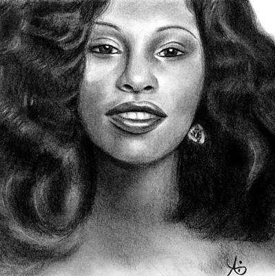 Drawing - Young Chaka Khan - Charcoal Art Drawing by Ai P Nilson