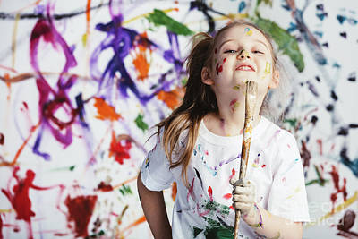 Photograph - Young Child Painter Standing With A Brush by Michal Bednarek