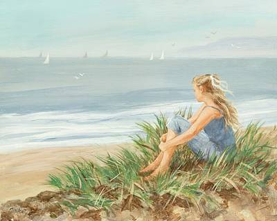 Beach Landscape Drawing - Young Christina by Tina Obrien