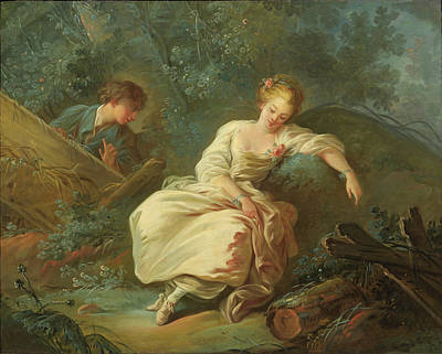 A Girl In A Wood Painting - Young Couple In A Landscape by Jean-Baptiste Huet