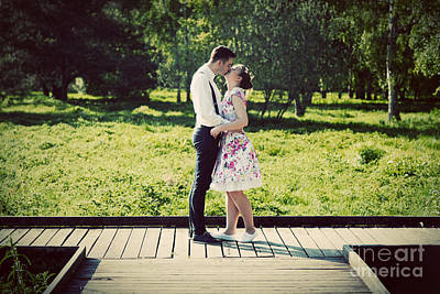 Young Couple In Love Standing On Wooden Cross-roads Art Print