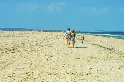 Photograph - Young Couple Walking, Relaxing On The Beach In New Jersey, Usa by Alexander Image