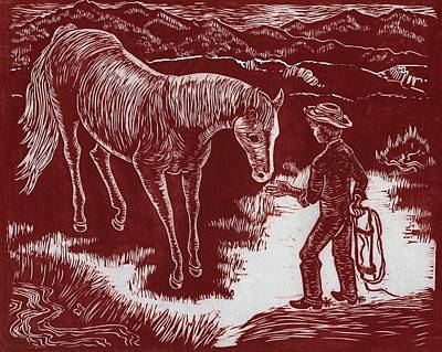 Drawing - Young Cowboy Catching His Horse by Dawn Senior-Trask