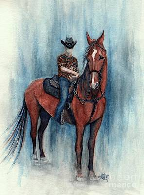 Painting - Young Cowboy On A Western Horse by Janine Riley
