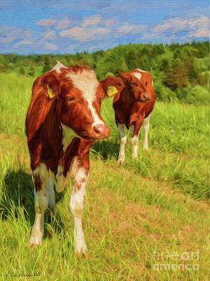Meadow Painting - Young Cows by Veikko Suikkanen