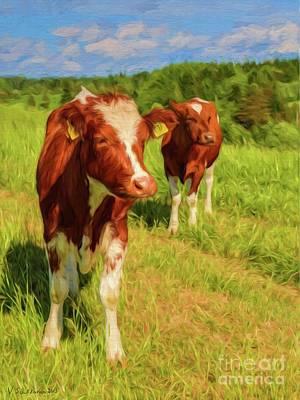 Young Cows Art Print by Veikko Suikkanen