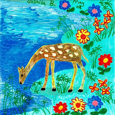 Sue Burgess Painting - Young Deer Drinking by Sushila Burgess