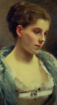 Hair Bun Painting - Young Dreamer by Gustave Jacquet