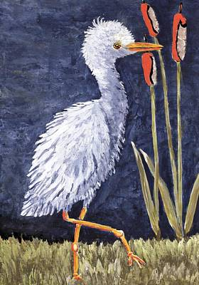 Painting - Young Egret Takes A Walk by Suzanne Theis