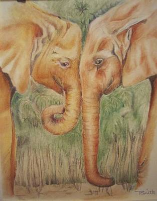 Pastel - Young Elephants by Teresa Smith