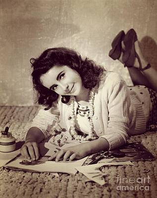 Actors Royalty-Free and Rights-Managed Images - Young Elizabeth Taylor, Hollywood Legend by Esoterica Art Agency