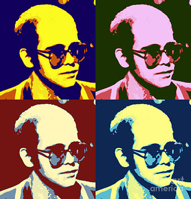 Elton John Painting - Young Elton John Pop Art Poster by Pd