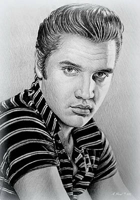 Young Elvis Bw Art Print by Andrew Read