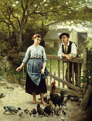The Hen Painting - Young Farmers by Edouard Bernard Debat-Ponsan