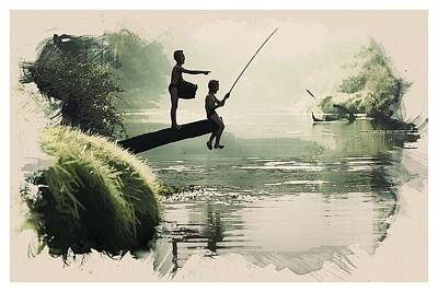 Pond Painting - Young Fisherkids by Celestial Images