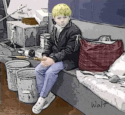 Print featuring the digital art Young Fisherman by Walter Chamberlain