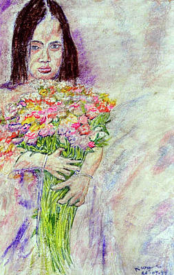 Young Flower Girl Art Print by Richard Wynne
