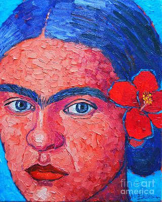 Woman With Black Hair Painting - Young Frida Kahlo by Ana Maria Edulescu