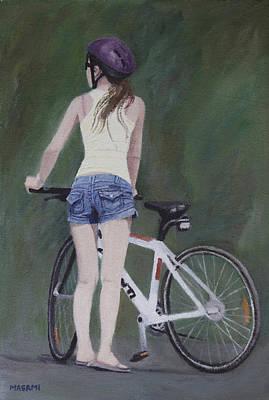 Young Girl And Bicycle Art Print