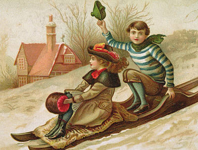 Winter Sports Drawing - Young Girl And Boy Tobogganing, Victorian Christmas And New Year Card by English School