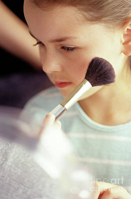 Photograph - Young Girl Applying Make Up by Jim Corwin