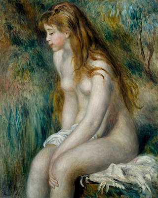 Young Girl Nude Painting - Young Girl Bathing by Auguste Renoir