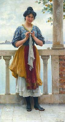 Eugen Von Blaas Painting - Young Girl Before The Lagoon by Eugen Von Blaas