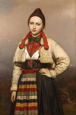 Painting - Young Girl From Rattvik In Dalarna. Sweden by Joseph van Lerius