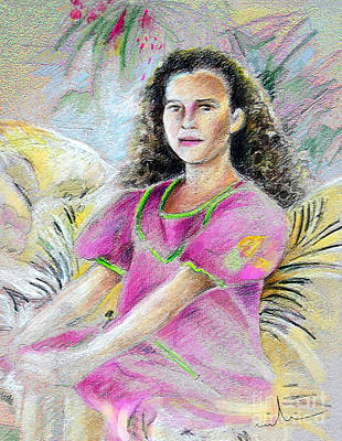 Painting - Young Girl From Tahiti by Miki De Goodaboom