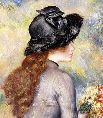 Painting - Young Girl Holding A Bouquet Of Tulips, by Pierre Auguste Renoir