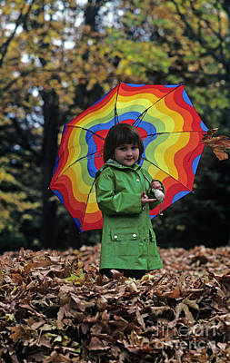 Photograph - Young Girl Holding An Umbrella  by Jim Corwin