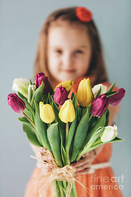 Photograph - Young Girl Holding Mother's Day Gift. by Michal Bednarek