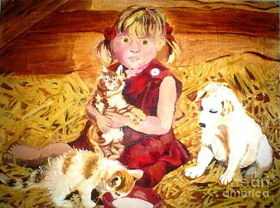 Painting - Young Girl In A Barn by Josie Weir