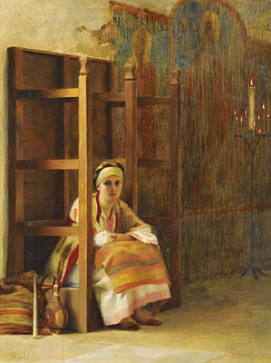 Greek Icon Painting - Young Girl In A Greek Church by Theodoros Rallis