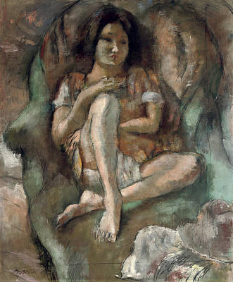 Sit-ins Painting - Young Girl In An Armchair by Jules Pascin