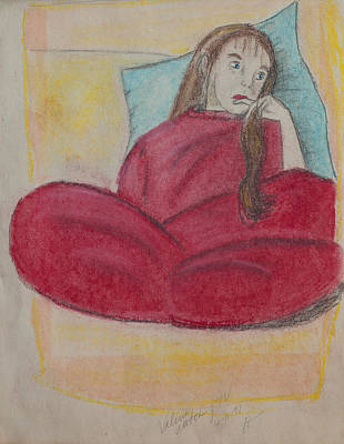Young Girl In Deep Thought Art Print by Sierra Logan