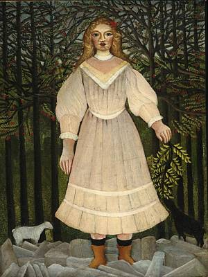Painting - Young Girl In Pink by Henri Rousseau