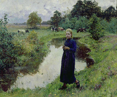 Girl In Landscape Painting - Young Girl In The Fields by Evariste Carpentier