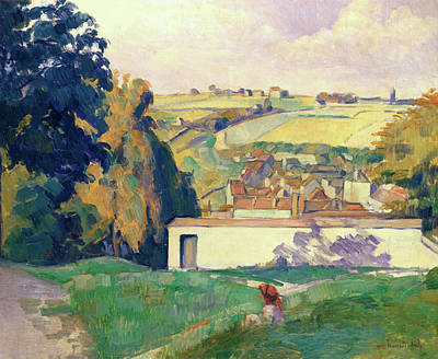 Country Painting - Young Girl On A Hill by Emile Bernard