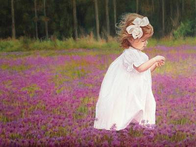 Painting - Young Girl Picking Flowers by Pam Talley
